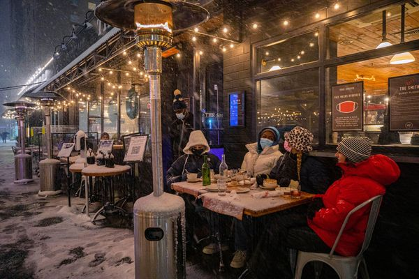 Eating outside in a snowstorm in NYC