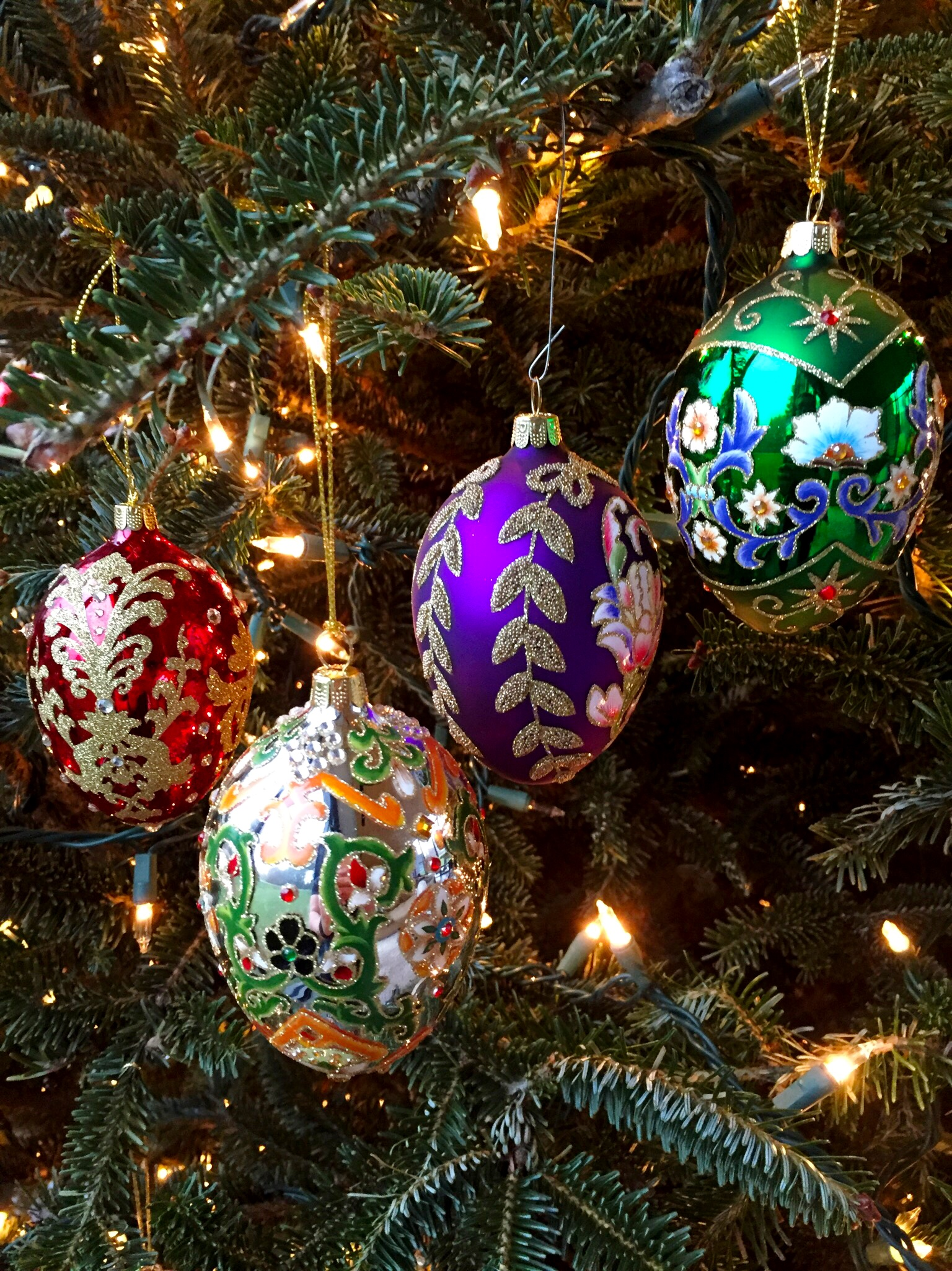 H208568 2016 Set Of 4 Russian Inspired Egg Ornaments  On Dd's Treeg